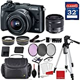 Canon EOS M6 Mirrorless Digital Camera (Black) with Canon EF-M 15-45mm f/3.5-6.3 IS STM Lens (Graphite) + Professional Accessory Bundle