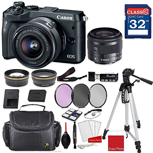 Canon EOS M6 Mirrorless Digital Camera (Black) with Canon EF-M 15-45mm f/3.5-6.3 IS STM Lens (Graphite) + Professional Accessory - Stabilizer Kit Graphite