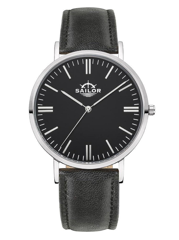 Sailor Armbanduhr Classic Basic black silber mit schwarzen Lederarmband - Farbe Ziffernblatt:schwarz - Durchmesser