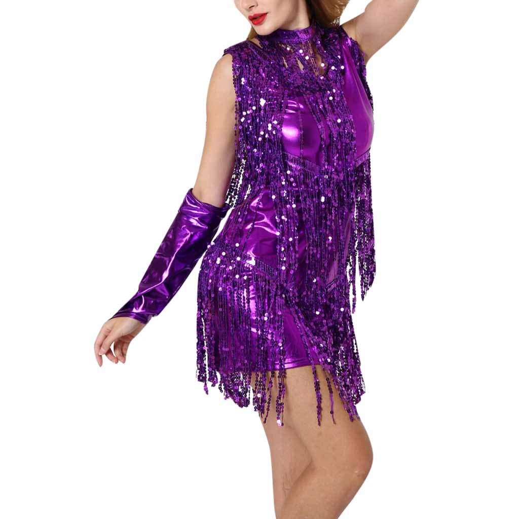 Kiminana Women's Hanging Neck Sequins Fringed Dance Skirt Latin Dance Costume Purple