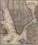 vintage nyc map - Imagekind Wall Art Print entitled Vintage NYC And Brooklyn Map (1847) by Alleycatshirts @Zazzle | 16 x 19