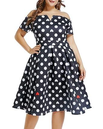 b51dcc2a675 Lalagen Womens Vintage 1950s Flare Rockabilly Plus Size Cocktail Prom Dress  Black PolkaDot XL