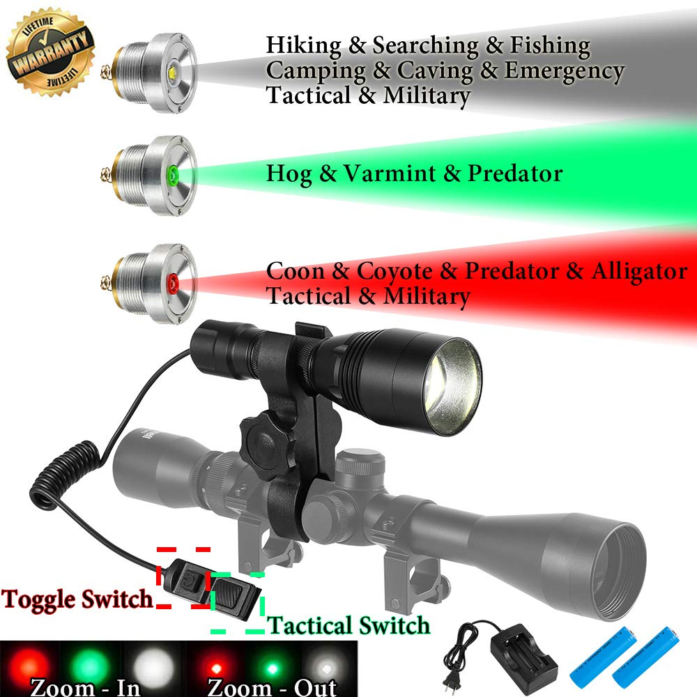 Red-Green Flashlight-1200 Lumens Tactical Hunting Light With Intensity Control-Zoomable-Rechargeable Hunting Light For Fox,Varmint,Predator,Coyote,Hog,Coon Hunting With Universal Scope Rifle Mount Kit by GearOZ