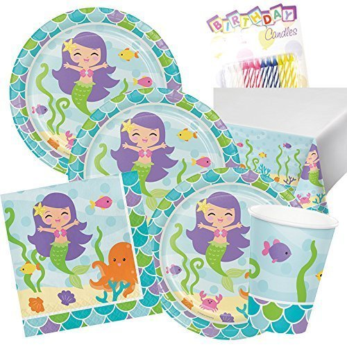 Like Paper Banquet Table Covers (1st Mermaid Birthday Party Birthday Supplies Pack for 16 Guest Plates Napkins Cups and Tablecloth First Baby Mermaid Ocean Sea Party Tableware Supply Set Kit include Birthday Candles)
