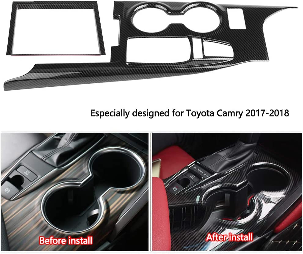 2018 KIMISS 2Pcs Car Interior Gear Shift Box Panel Frame Cover Trim for Toyota Camry 2017