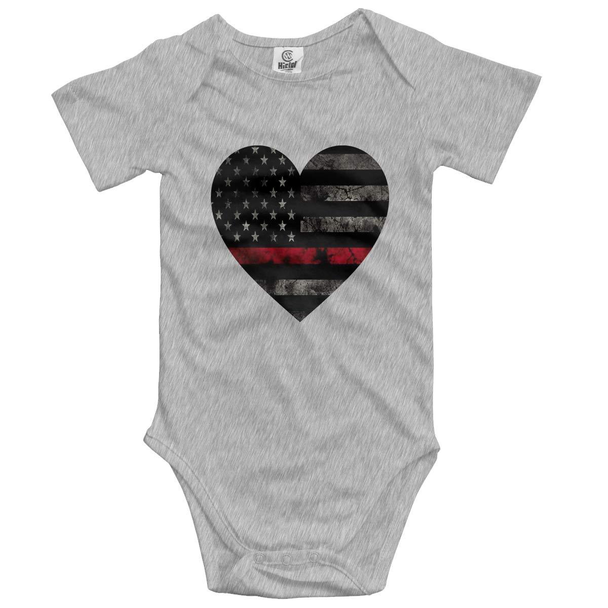Baby Short-Sleeve Onesies Love Vintage American Flag Bodysuit Baby Outfits