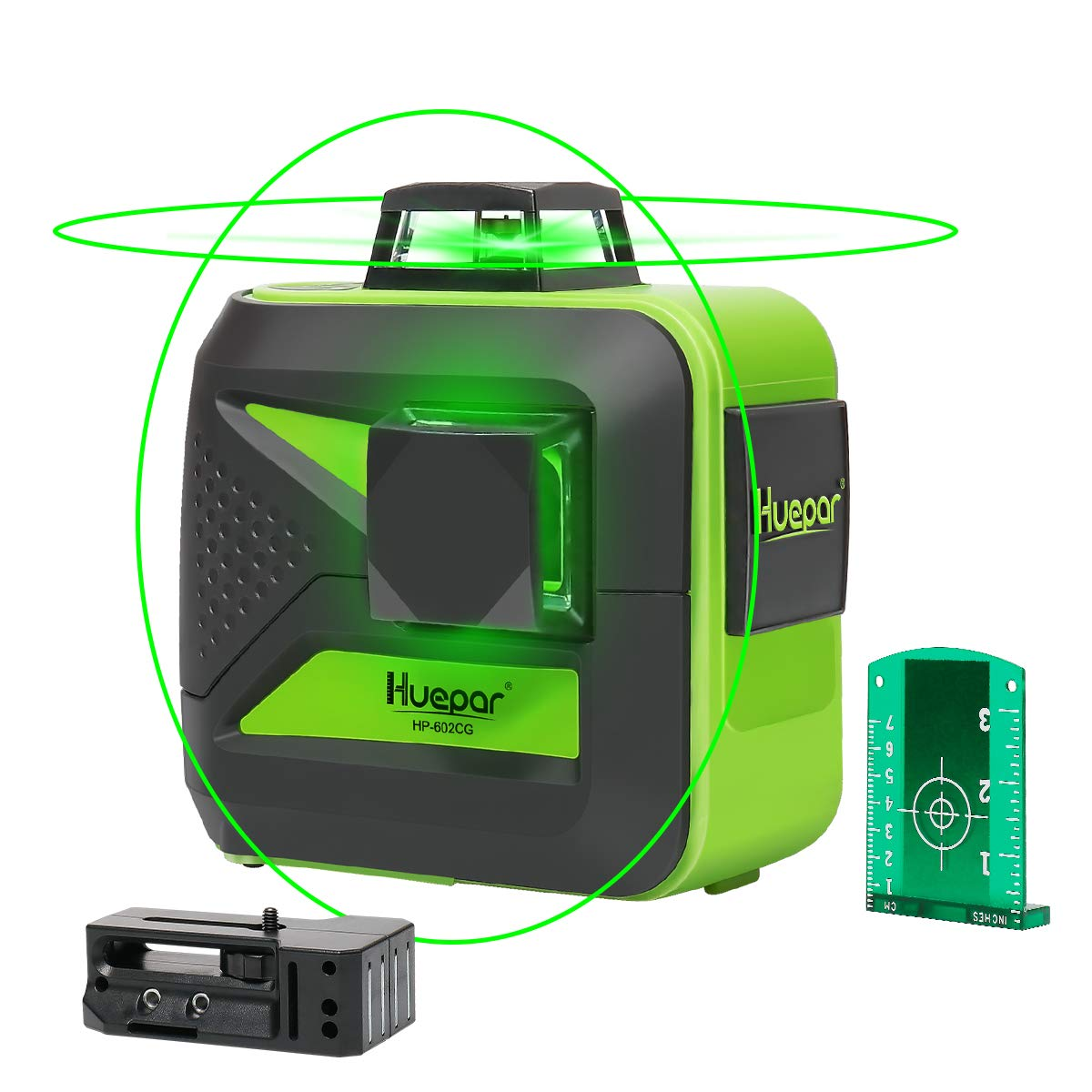Huepar 2x360 Cross Line Laser, Self-Leveling Green Beam Laser Level Dual Plane Leveling and Alignment Line Laser Level -One 360° Horizontal and One 360° Vertical Line -Magnetic Pivoting Base 602CG