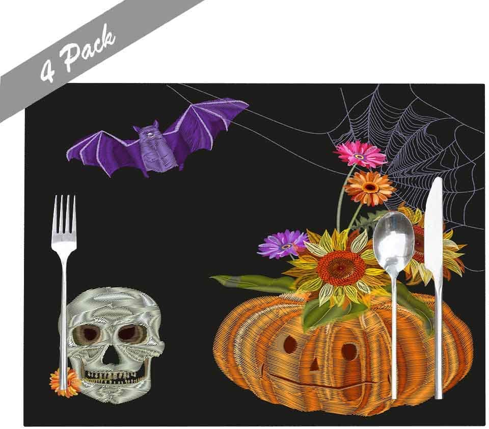 Amazon Com Musesh Placemats Washable Easy To Clean Dining Heat Resistant Placemats 18x12 Inches Set Of 4 Placemats For Kitchen Table Holiday Party Collection Halloween Skull Pumpkin Bouquet Autumn Flowers Home Kitchen