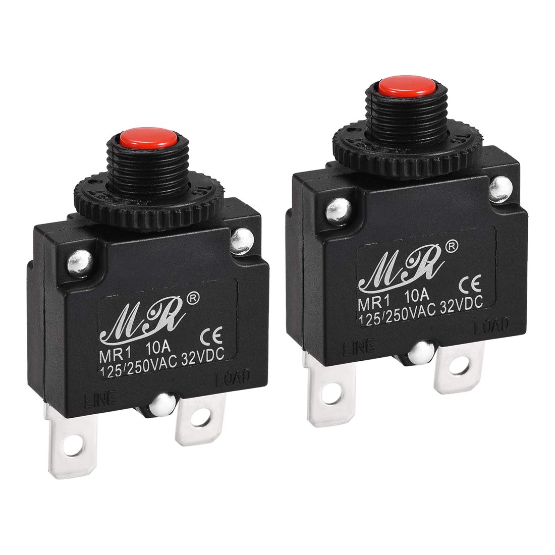 uxcell Thermal Circuit Breaker 20 Amp Push Button Reset Overload Protector 125//250V AC 32V DC with Quick Connect Terminal 2 Pcs