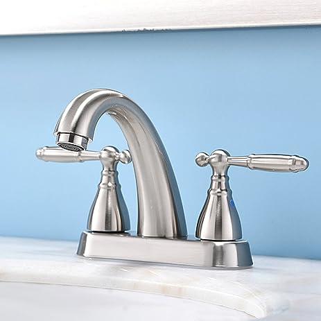 Phiestina Modern 2 Handle Brushed Nickel Bathroom Sink Faucet ...