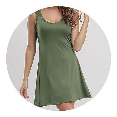 Sexy A-Line Solid Sleeveless Women Mini Boho Party&Beach Vestidos Plus Size 5XL,Army