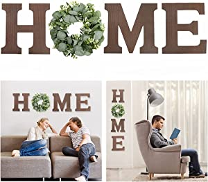 Wooden Home Sign Wall Hanging Decor - Wood Home Letters for Wall Art with Artificial Eucalyptus Wreath Rustic Home Decor, Farmhouse Wall Decor for Living Room Kitchen Housewarming Gift
