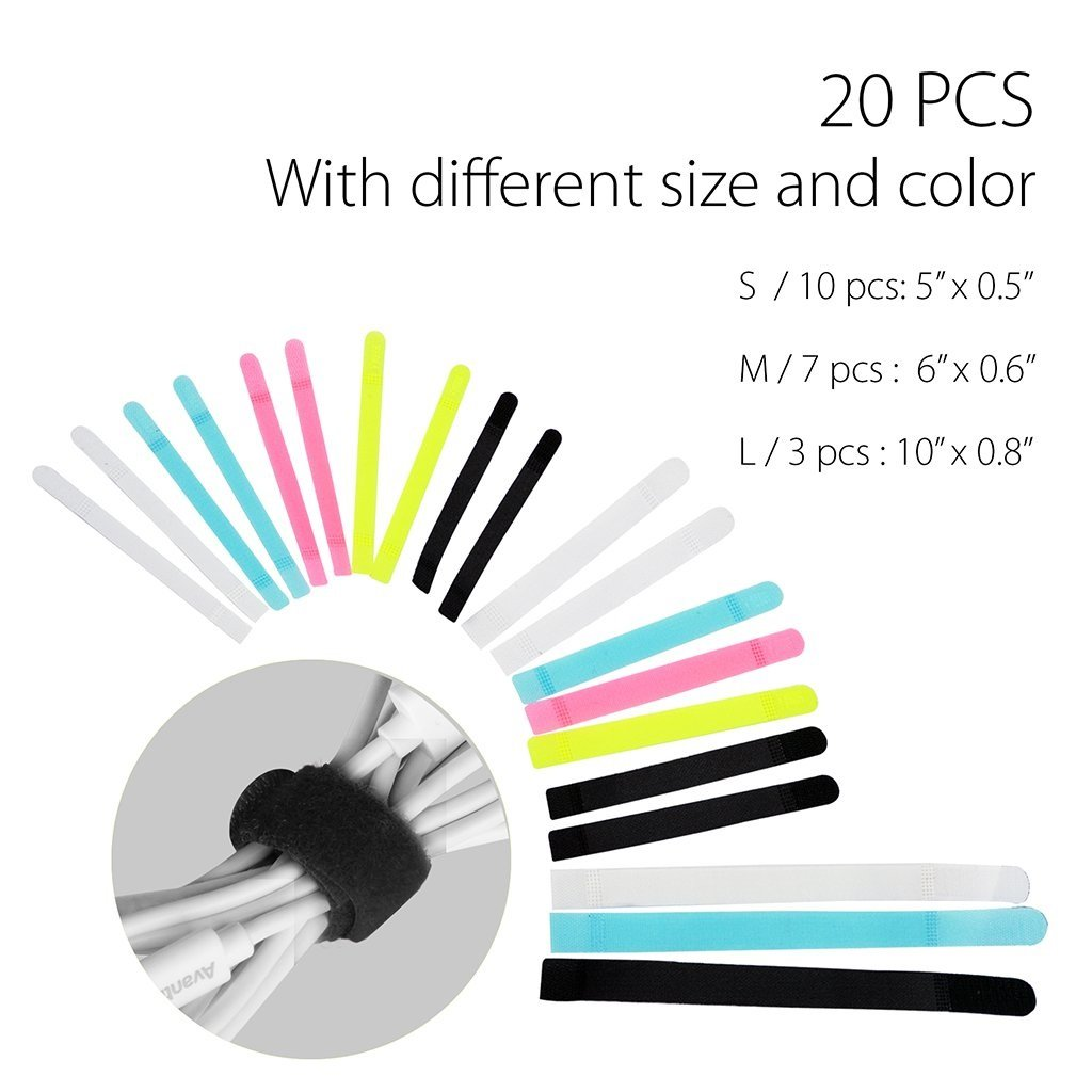 Assorted 3 Size Avantree Pack of 50 Reusable Cord Organizer Keeper Holder Fastening Cable Ties Straps for Earbud Headphones Phones Wire Wrap Management Black