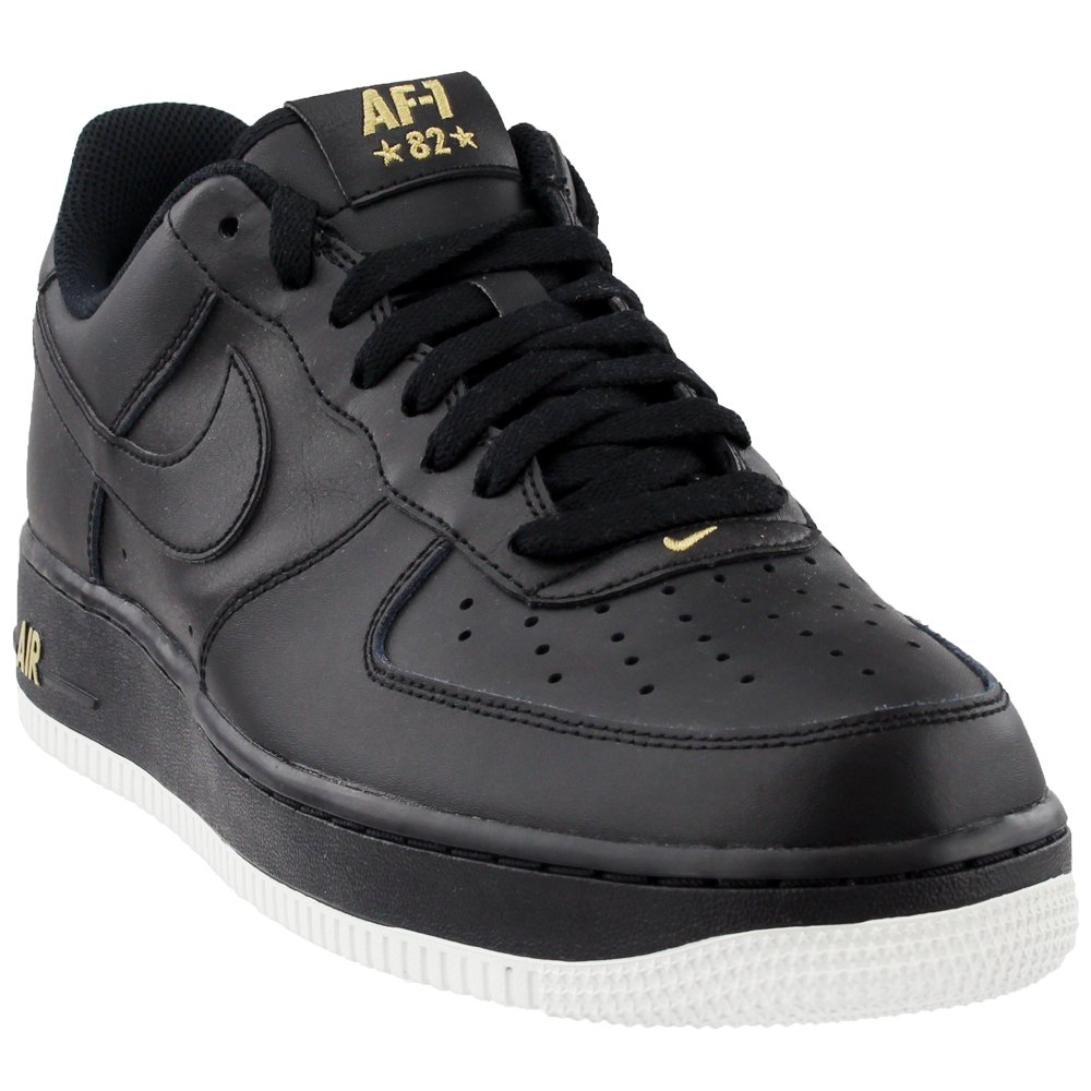 new concept 3c294 59a7a Galleon - Nike Mens Air Force 1 Low 07 Crest Basketball Shoes Black/Summit  White/Metallic Gold AA4083-014 Size 13