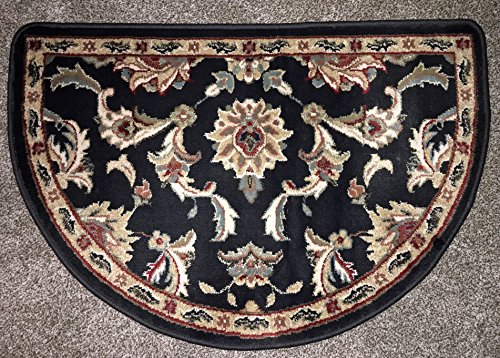 Black Multicolor Traditional Plush Cabin Lodge Fireplace Hearth Rug Mat Half Round Slice (Half Moon Fireplace Rug compare prices)