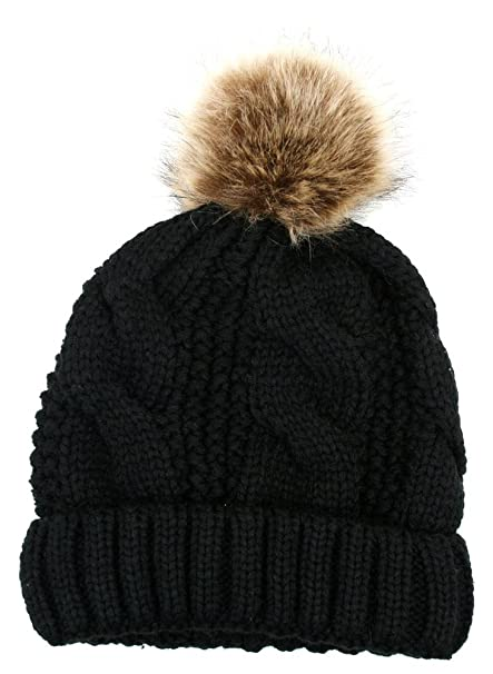 d427e6ee561 ANGELA   WILLIAM Women s Thick Cable Knit Beanie Hat With Soft Fur Pom Pom
