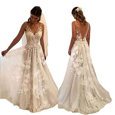 875dfa9f6c0 Tsbridal Women Wedding Dresses A-line V-Neck Tulle Lace Backless Boho  Wedding Gown Bridal Dresses at Amazon Women s Clothing store