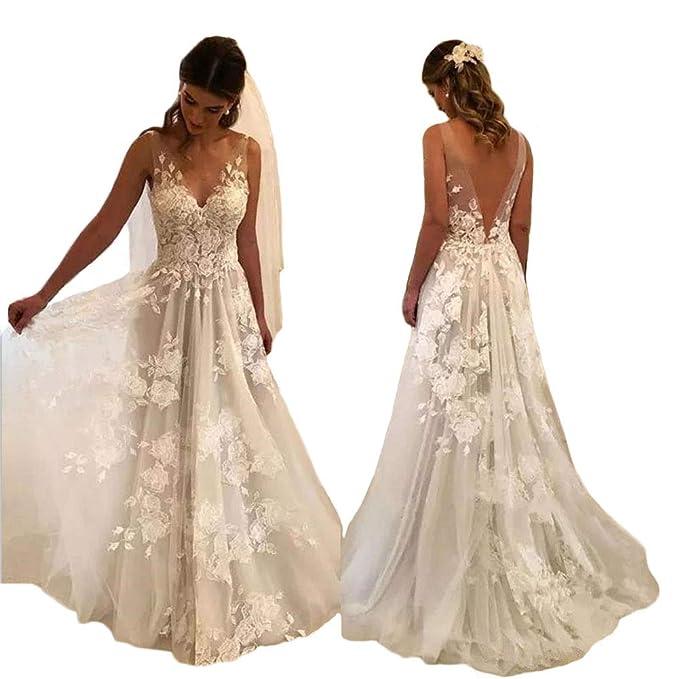 Tsbridal Women Wedding Dresses A Line V Neck Tulle Lace Backless Boho Wedding Gown Bridal Dresses