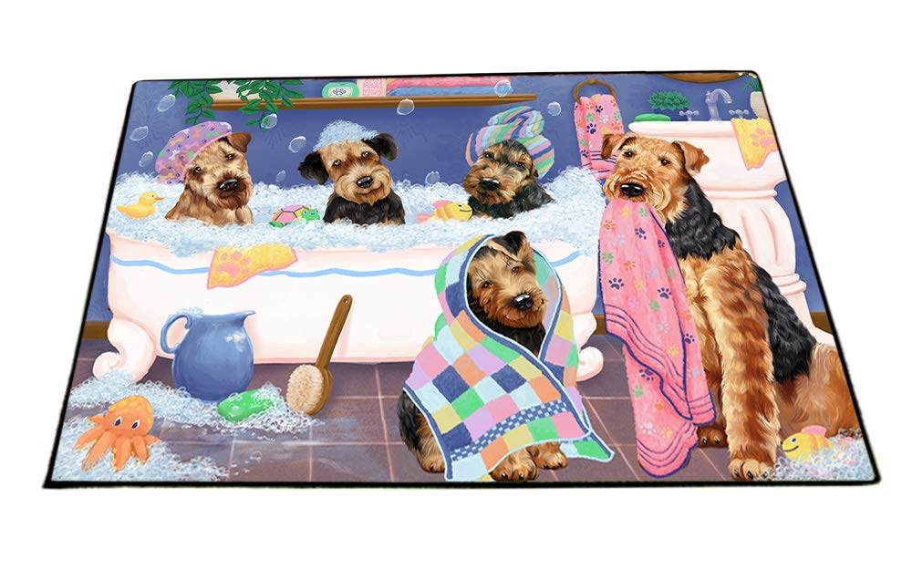 Rub A Dub Dogs In A Tub Airedale Terriers Dog Floormat FLMS53430 (18x24) by Doggie of the Day