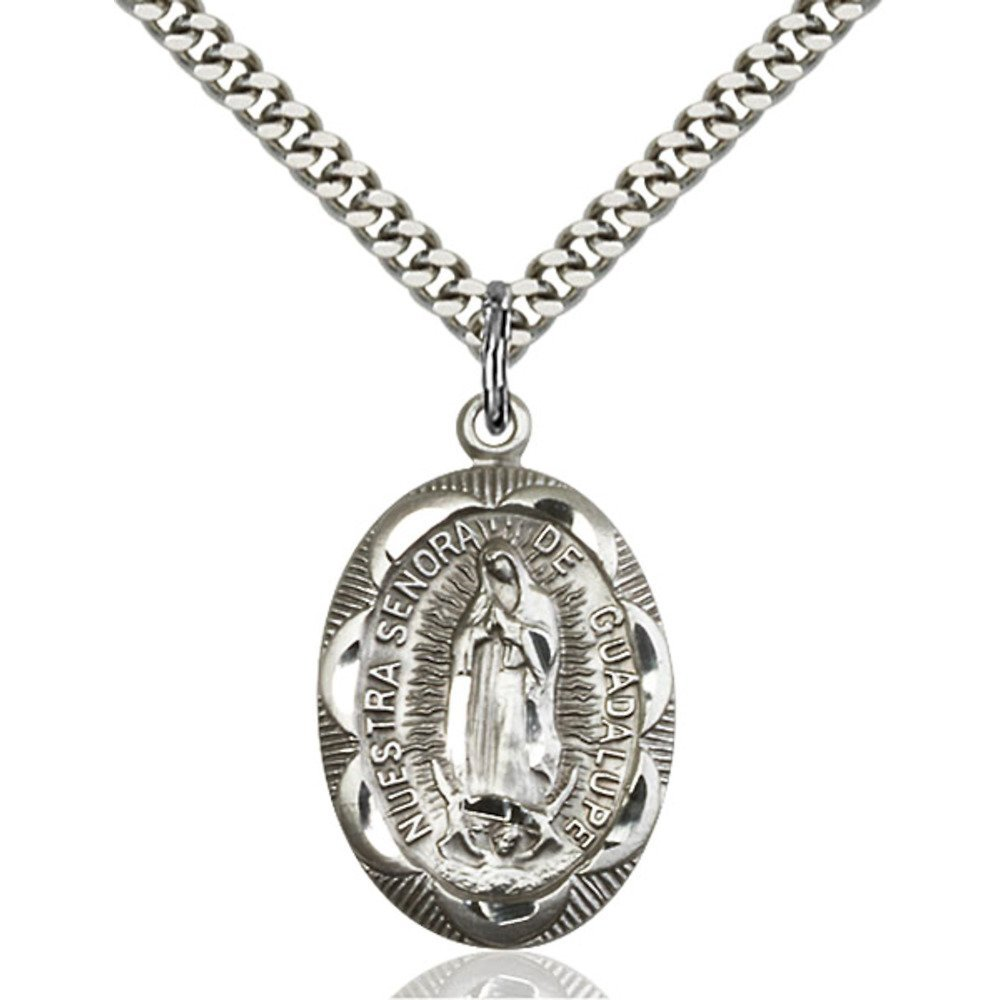 Sterling Silver Our Lady of Guadalupe Pendant 1 x 5/8 inches with Heavy Curb Chain