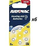 60 x Tipo 10 (GIALLO) - RAYOVAC Extra Advanced 10 / 1,4 V / 105 mAh - Pile per apparecchi acustici - confezione da 60 (10 x 6)