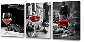 Muolunna-BK3034 Wall Art Black and White Painting Red Wine Cups Pictures Print 3 Pieces Canvas Wine Glass for Bedroom Living Room Office Dining Room Wall Decor Home Decoration Framed Ready to Hang