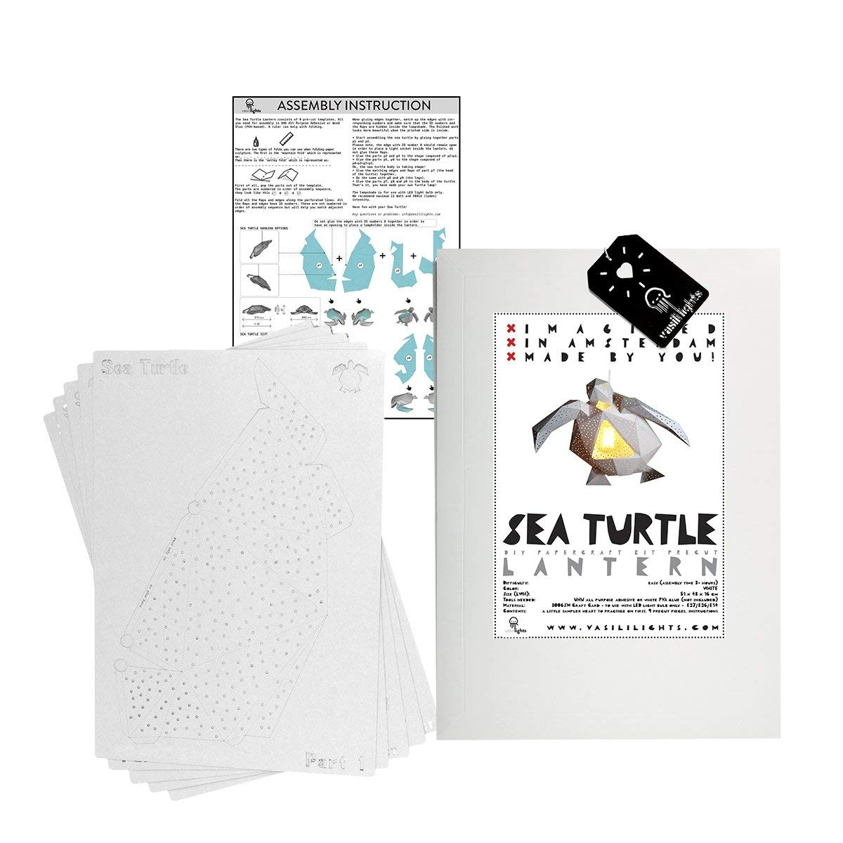 Paper Craft Lamp DIY Papercraft Sea Turtle Lantern (Mint)