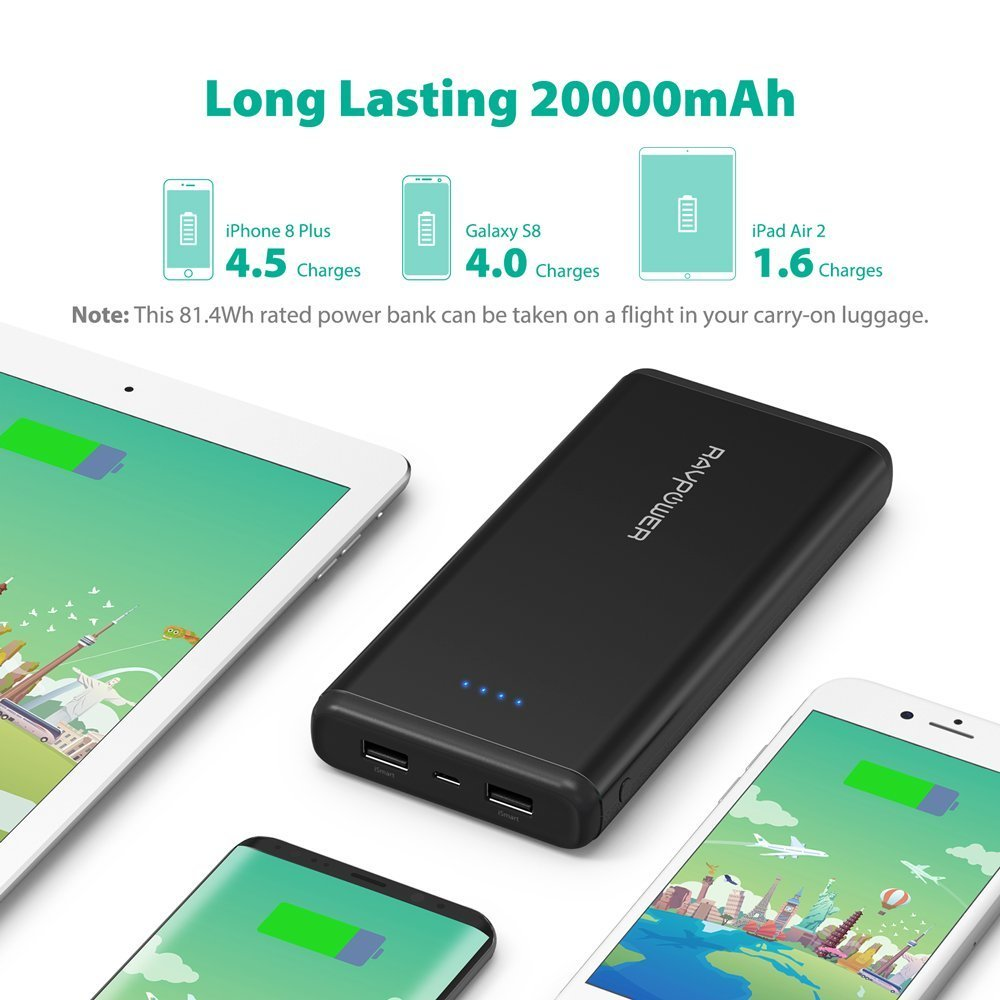 Portable Chargers RAVPower 20000mAh USB Battery Pack with Dual iSmart 2.0 USB Ports, 3.4A Max Output, 2.4A Input Power Bank for iPhone, iPad, Galaxy, and Android Devices by RAVPower (Image #2)