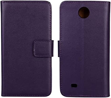 Funda con tapa Zara de tamaño pequeño, COOLKE color marrón y de tarjeta de cuero tipo libro con función de atril con cubierta de la caja con tapa para HTC Desire 300/Zara