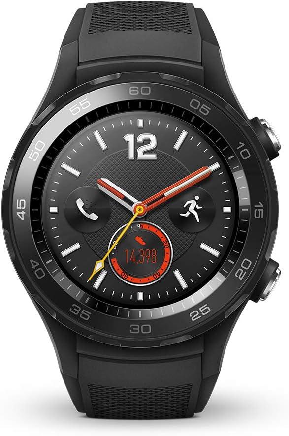 Huawei Assista 2 Smartwatch, 4G / LTE, 4 GB ROM, Android Wear, Bluetooth, Wi-Fi, monitor de frequência cardíaca, Preto (Carbon Black)
