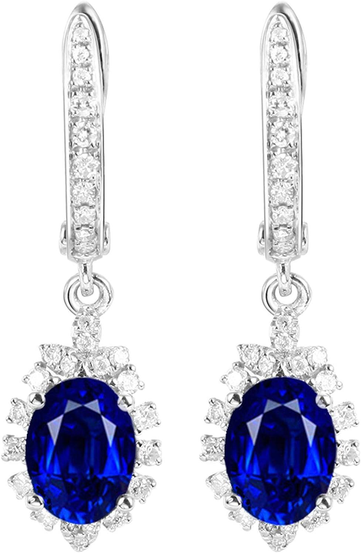 Epinki Oro de 18 Quilates Pendientes Zafiro Forma Mujeres Semental Joyería de Noche con Azul Zafiro