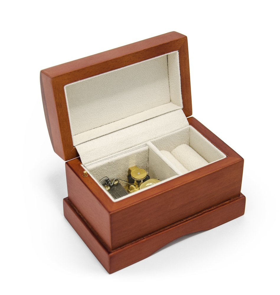 Wood Music Box - Matte Wood Tone Treasure Chest Simple 18 Note Musical Jewelry Box - DIY Personalized Music Box - Over 400 Song Choices by MusicBoxAttic (Image #3)