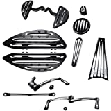 Driver Passenger Floor boards w/ Peg Mount Kit + Brake Arm Peg Pedal + Toe Heel Shift Lever Shifter Peg + Dash Accessory Pack + Frame Grille Cover + Shift Linkage For 09-13 Harley Touring