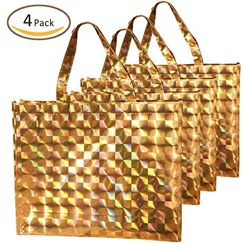 Rumcent Bling Glossy Non-woven Laser Shopping Bag Gift Bags, Fashion Shiny Tote Bag, Beautiful Glitter Design, Waterproof Reusable Grocery Bag Handles Bags, Medium 4 PCS- Gold