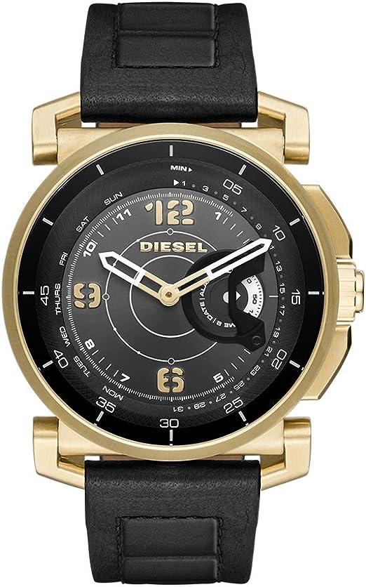 Diesel Mens Diesel ON Hybrid Smartwatch Gold Tone Stainless Steel Black Leather Band,Model (DZT1004)