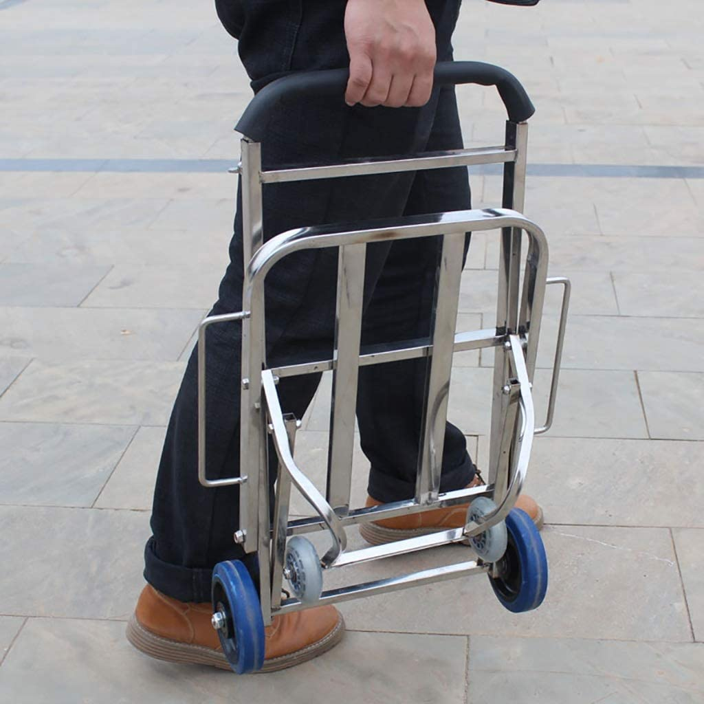 FMOGE Trolley Portable Luggage cart for Collapsible Stainless Steel trolleys Incoming Trolley Moving a Small Wheel-Trailer with Telescopic Rod