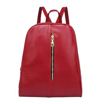 c9f623287 Gusspower Mochilas Mujer Moda Color sólido Cuero de la PU Mochilas Bolsa de  Viaje (Vino Rojo): Amazon.es: Deportes y aire libre