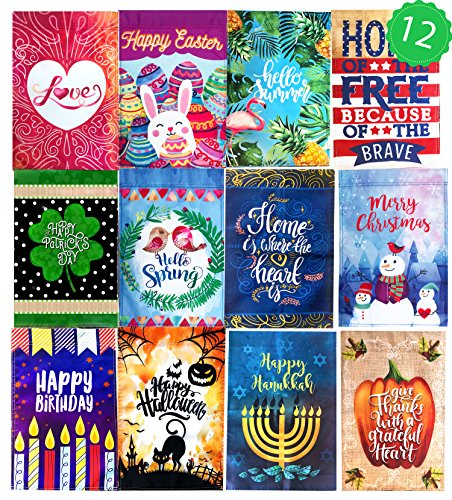 12 Seasonal Holiday Garden Flag Set 12'' x 18''. Decorative Flags for Outdoors - Weather Tested and Fade Resistant USA Designed - Best for Party Yard and Home Outdoor Decor. by Wonder Home Supply