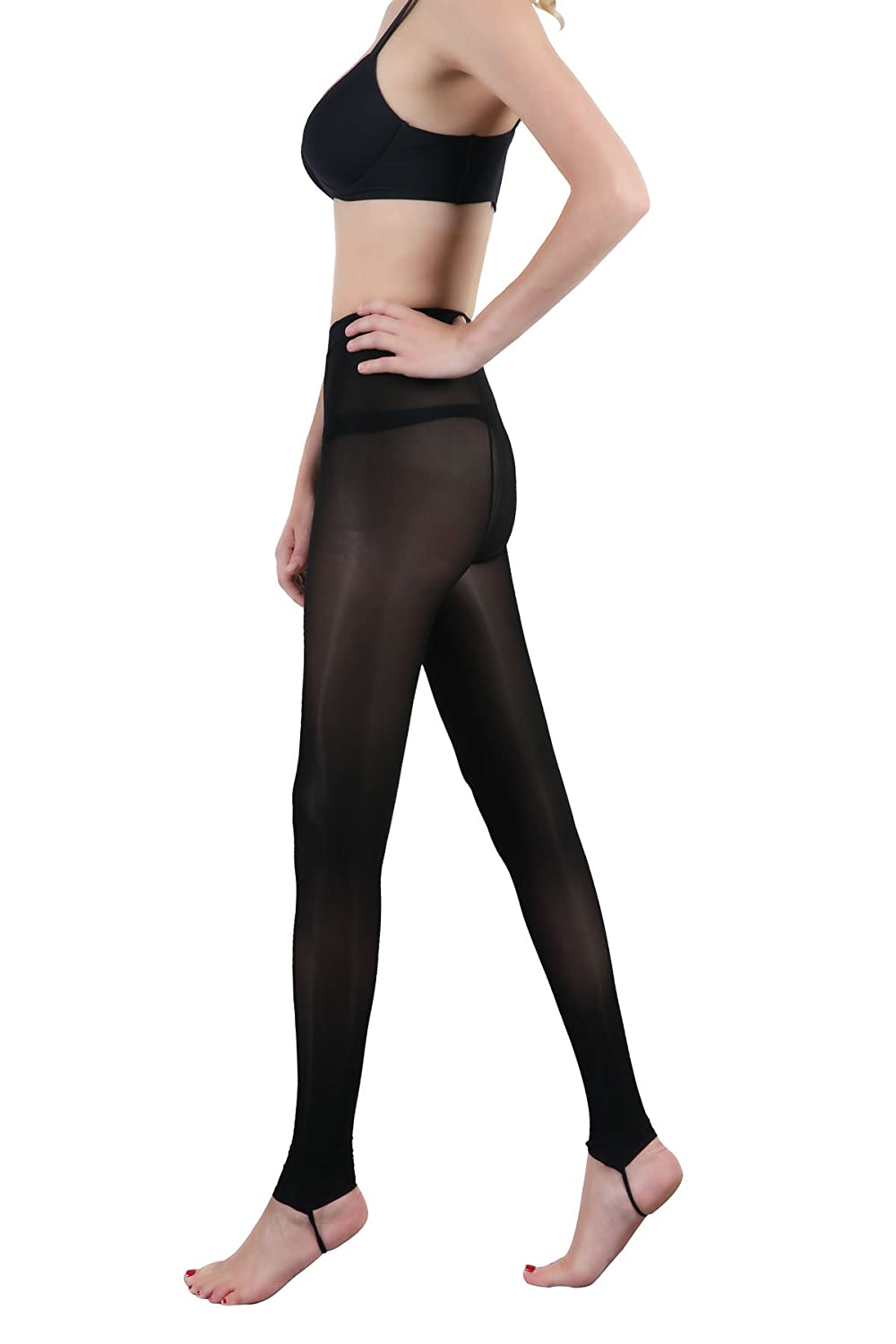 LIN Womens 2 Pack Ultra Soft Sheer Pantyhose Stockings T Crotch Tights Black Nude Light Brown