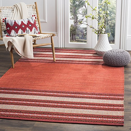 Safavieh Montauk Collection MTK214C Red and Ivory Area Rug (6' Square)
