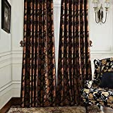 Cheap MICHELE HOME FASHION 100″ W x 102″ L (Set of 1 panel) 20 Custom Modern Country Rustic Floral Chenille Jacquard Grommet Top Lined Blackout Window Treatment Draperies & Curtains Panels