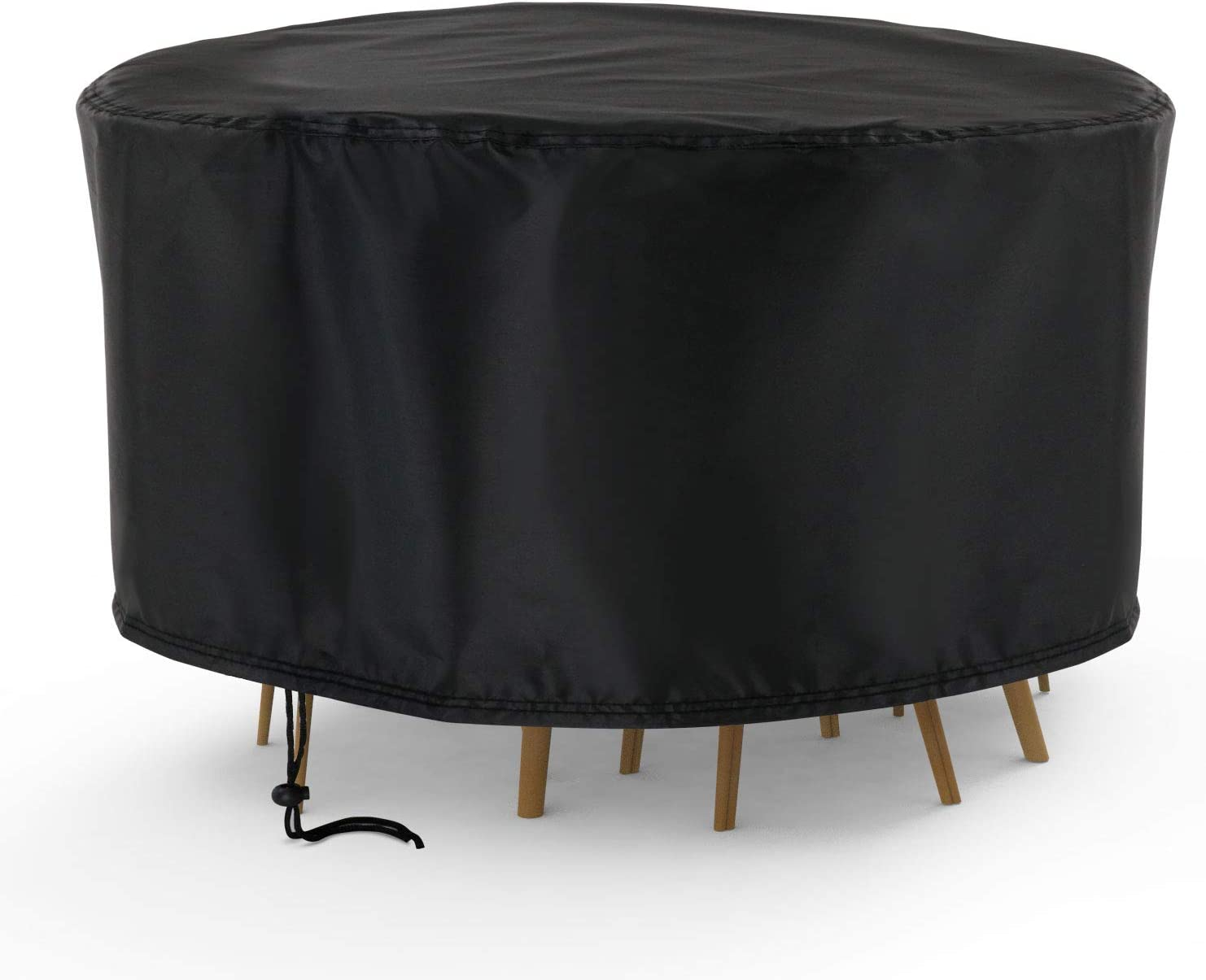 Hengme Round Patio Outdoor Furniture Covers, 90 Inch Waterproof Table Chair Set Covers, UV Resistant, Dustproof - Black (90''Dia x 43''H)