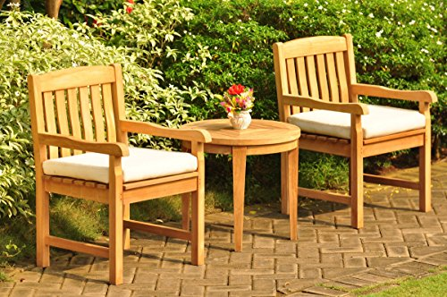 New 3 Pc Luxurious Grade-A Teak Wood Outdoor Dining Set - 23.5' Noida Round Side Table and 2 Devon Arm / Captain Chairs #WHDSDVc