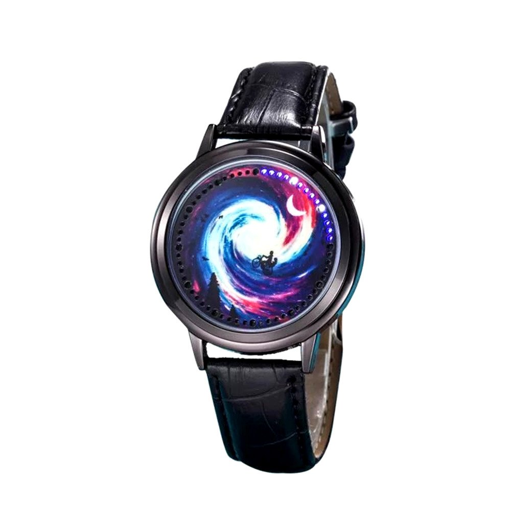 MINILUJIA Classic Creative Gril's Watch Unique Women Watches Red Cosmic Black Hole Touch Screen Led Watch Women Watch with Soft Leather Strap Band Black (Starry Sky red)