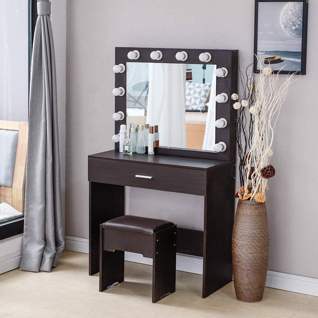 (Shipping from USA) Vanity Set with Lighted Mirror, Makeup Dressing Table with 12 Led Dimmable Bulbs, Makeup Table with Large Drawers and Cushioned Stool for Bedroom Furniture (Walnut)