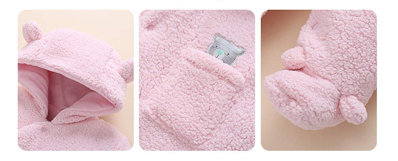 Pagliaccetto in Pile e Cotone Pink 66cm con Cappuccio Spesso Pagliaccetto Unisex per Beb/è mit Tuchsschuhe Elonglin f/ür 0-3 Monate con Scarpa