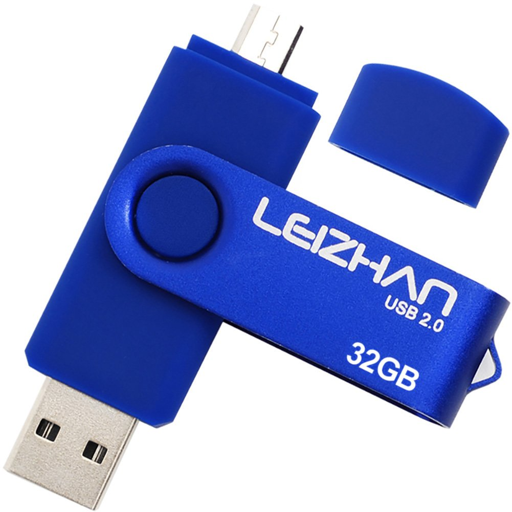 LEIZHAN 32GB OTG USB Flash Drive Blue USB 2.0 Pen Drive Gift Suitable For Android Smart Phone System 4.5 Above