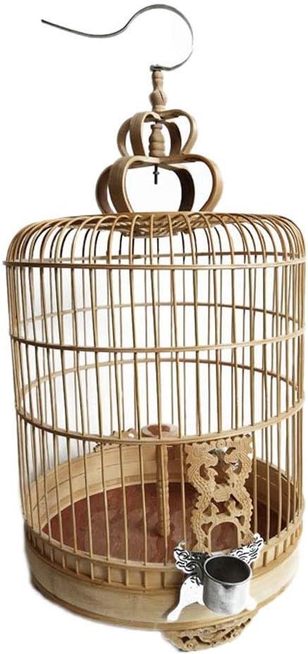Hjd-cama para perros Boutique Jaula de pájaros Bambú Jaula de pájaros Bambú Pájaro Jaula Loro Paloma Pájaro Jaula Flor Redonda Puerta Flor Estilo: Amazon.es: Hogar