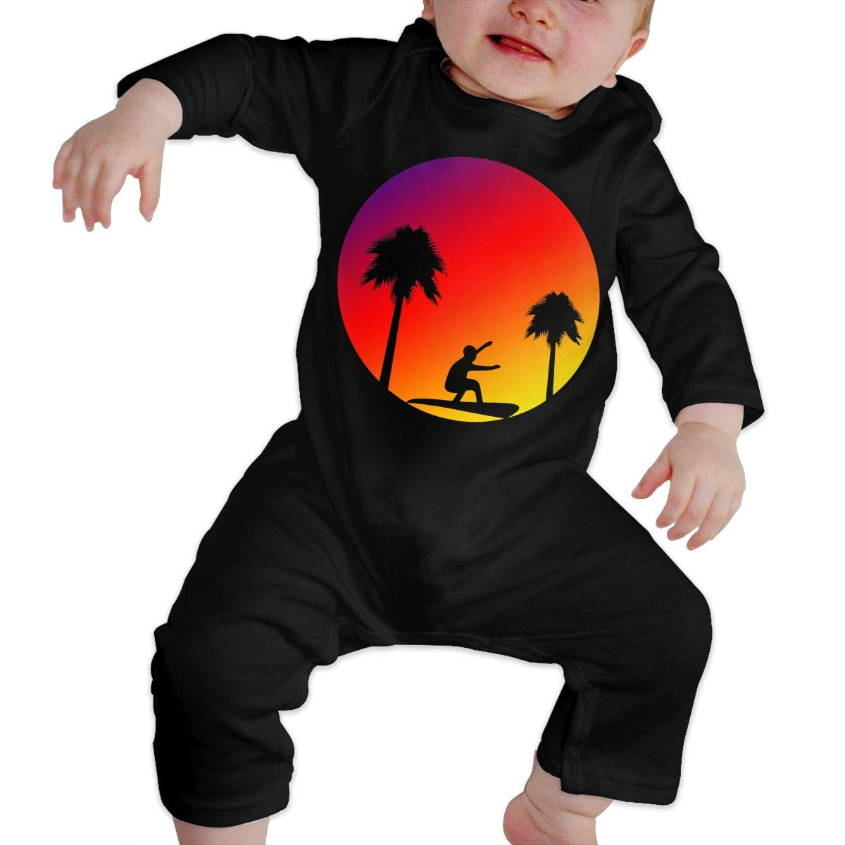 Toddler Baby Boy Girl Long Sleeved Coveralls Sunset Silhouette Art Trees Baby Rompers
