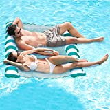 Aqua Catalina 3-in-1 Multi-Purpose Inflatable Hammock 2 Person Pool Float, Water Lounge, Teal/White Stripe